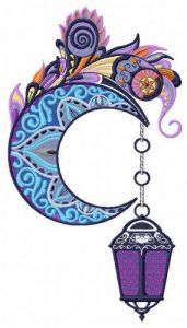 Mottled moon embroidery design