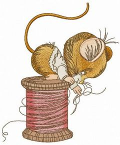 Mouse sitting on spool of threads embroidery design