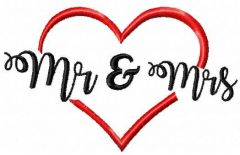 Mr and Mrs heart wedding embroidery design