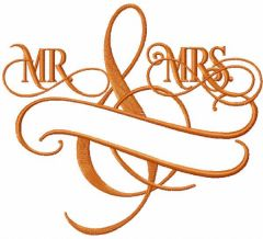 Mr and Mrs monogram embroidery design