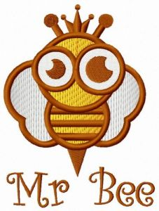 Mr Bee embroidery design
