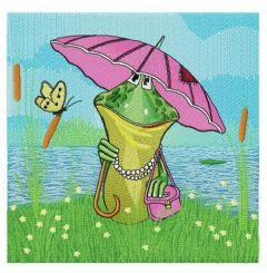 Mrs Frog embroidery design