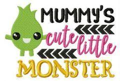 Mummy's cute little monster embroidery design