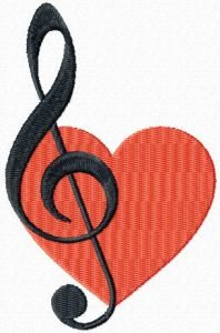 Music in my heart embroidery design