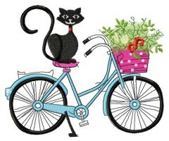 My cat loves bike embroidery design