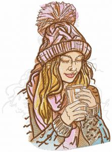 My hot coffee embroidery design