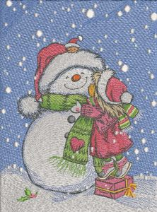 My loving snowman embroidery design