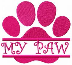 My paw embroidery design