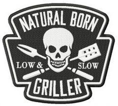 Natural born griller embroidery design