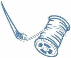 Needle and spool of thread embroidery design