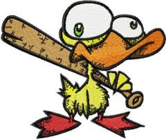 Nervous Duck with a Baseball Bat embroidery design