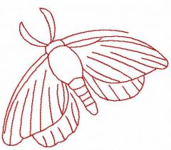 Night butterfly redwork embroidery design