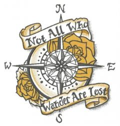 Not All Who Wander Are Lost embroidery design