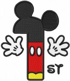 Number First Mickey embroidery design