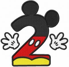 Number Second Mickey embroidery design