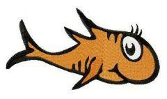 Orange fish Dr. Seuss embroidery design
