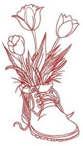 Original composition with tulips embroidery design