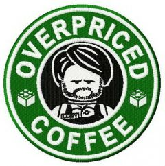 Overpriced coffee embroidery design