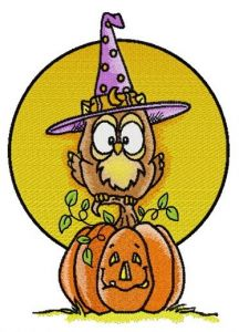 Owl in witch hat embroidery design