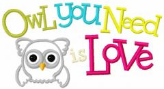 Owl you need is love 2 embroidery design