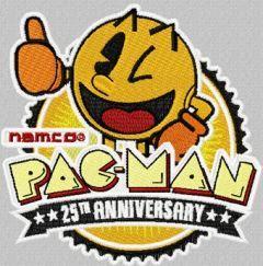 Pac-Man anniversary logo machine embroidery design