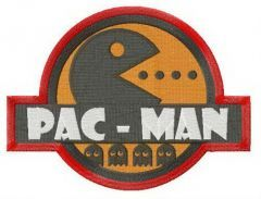 Pac-Man badge embroidery design