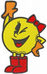 Pacman girl embroidery design