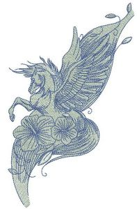 Pegasus with flowers embroidery design