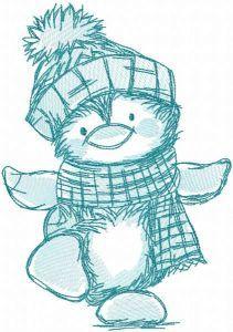 Penguin dancing sketch embroidery design