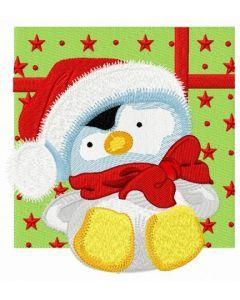 Penguin in Santa hat embroidery design 2