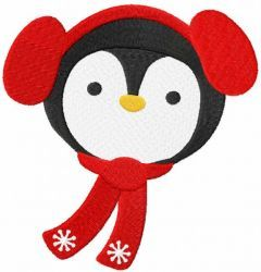 Penguin winter embroidery design