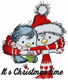 Penguin's Christmas time embroidery design 5