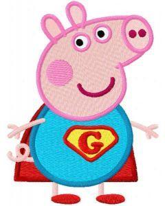Peppa pig hero embroidery design