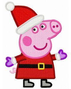 Peppa Pig in Santa costume embroidery design