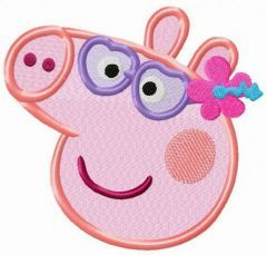 Peppa Pig on vacation embroidery design