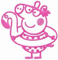 Peppa Pig with bird water donut embroidery design