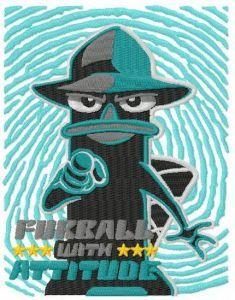 Perry the Platypus furball the attitude embroidery design