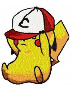 Pikachu in baseball cap 2 embroidery design