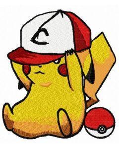 Pikachu in baseball cap embroidery design