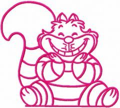 Pink Cheshire Cat embroidery design