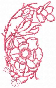Pink Flowers branch embroidery design