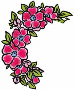 Pink flowers wreath embroidery design
