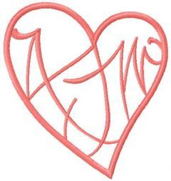 Pink tribal heart embroidery design