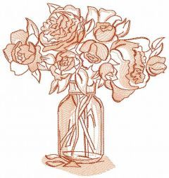 Pink roses in a vase embroidery design