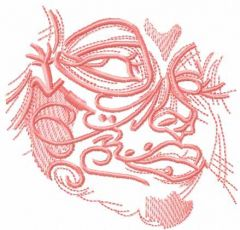 Pink tribal girl face embroidery design