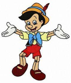 Pinocchio dancing embroidery design