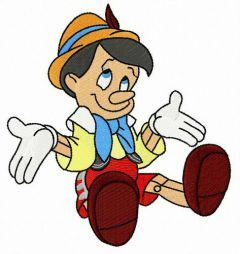 Pinocchio I don't know embroidery design