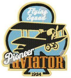 Pioneer aviator embroidery design
