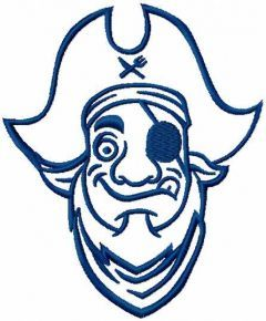 Pirate blue embroidery design