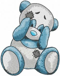Playing panda embroidery design